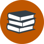 Link to Herb Kelleher Centers Resource programming. Link takes form of a stack of books in a burnt orange shaded sphere.